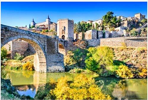 Rompecabezas 1000 Piezas Rompecabezas Alcázar Y Puente De Alcántara Puente De Alcántara Un Puente De Arco En Toledo Que Cruza El Río Tajo para Regalo Adulto