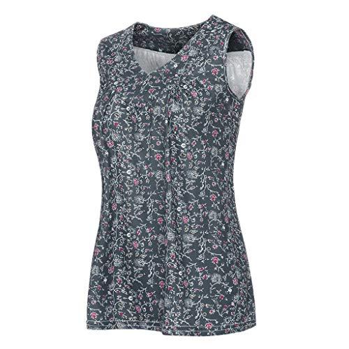 ZHANSANFM Tank Tops Damen Elegant Sommer Ärmellose Oberteile Locker V Ausschnitt Weste Top Casual Shirt Übergröße Plissiert Bluse Tshirt Blumendruck Tunika Tops (4XL, Dunkelgrau-1)