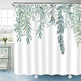 Riyidecor Grüne Blätter Duschvorhang 183 x 183 cm (B x H), botanische Badezimmerdekoration, Aquarell, Frühlingspflanzen, Stoff, wasserdicht, Heim-Badewannen-Dekoration, 12 Stück Kunststoff-Haken