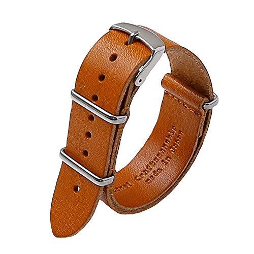腕時計バント 本革 ベルト 20mm 時計ベルト シルバー 栃木レザー 国産 革 a66178746 キャメル