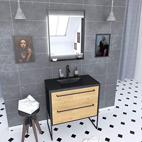 Aurlane PACM072 - Mueble de baño, color negro y roble marrón
