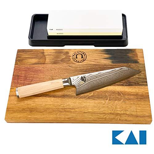 Kai Shun Classic White Kiritsuke DM-0777W, limitiertes Kochmesser + handgefertigtes Eichenbrett+ Kai-Schleifstein AP-0316