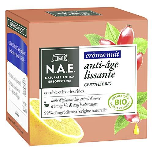 N.A.E. - Crème Visage Nuit Anti-Rides - Certifiée Bio - Huile d'Eglantier Bio et Extrait d'Ecorce d'Orange Bio - 98% d'ingrédients d'origine naturelle - Pot de 50 ml