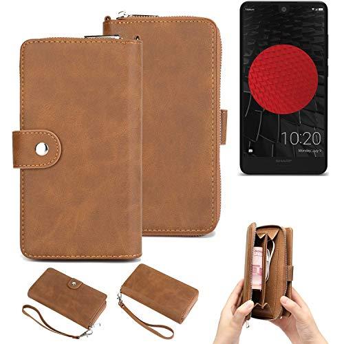 K-S-Trade Handy-Schutz-Hülle Für Sharp Aquos C10 Portemonnee Tasche Wallet-Hülle Bookstyle-Etui Braun (1x)