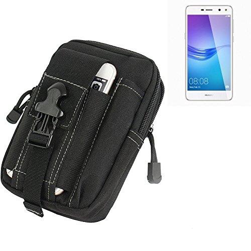 K-S-Trade Gürtel Tasche Für Huawei Y6 (2017) Dual SIM Gürteltasche Holster Schutzhülle Handy Hülle Smartphone Outdoor Handyhülle Schwarz Zusatzfächer