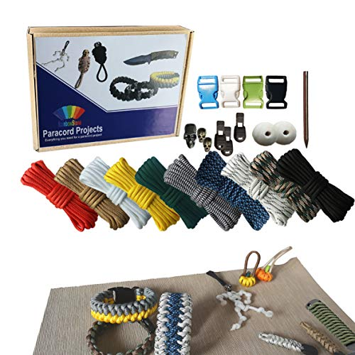 RainbowStone Paracord & Gurtband Kit für Armband/Fußkettchen/Griffwickel -10 * 3m 4mm Schnüre + Perlen + Schnallen + Videoanleitungen 24 STK. Set B