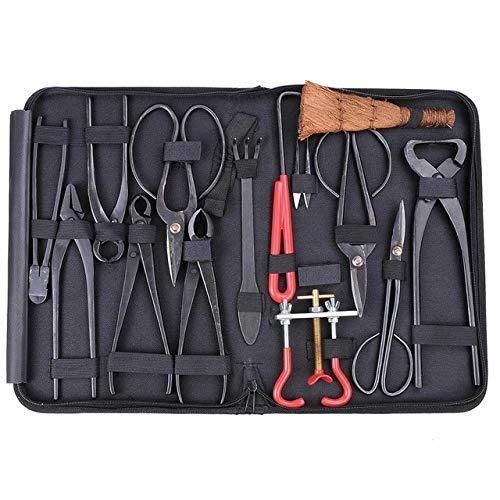 GETSO Hohe Qualität Bonsai Werkzeug Set Multifunktions Bonsai-Kit 14 - teiliges Set Carbon Steel Scheren-Set und Werkzeug-Kit/Rolle Wires