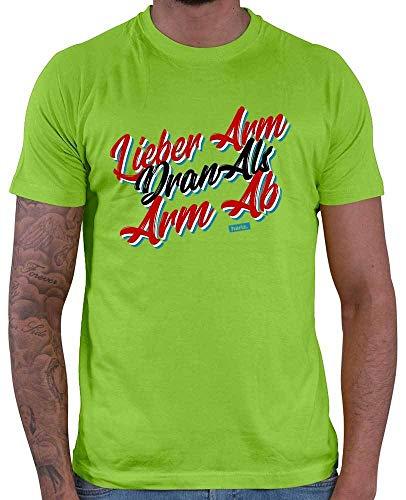 HARIZ  Herren T-Shirt Lieber Arm Dran Als Arm Ab Sprüche Rot Schwarz Weiß Plus Geschenkkarten Hell Grün 3XL