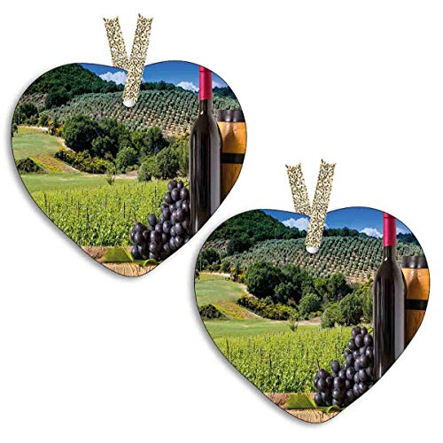 YiiHaanBuy 【2 Pieces! 】 Heart Shaped Ceramic Decoration - Idyllic Tuscany Country Landscape Agriculture Harvest Grape Plantation Boxes,Christmas Decorations,The Best Gifts.