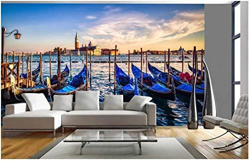 Papel de pared Paisaje del barco del puerto de Venecia 3D Efecto Fotomurales tejido no tejido Moderna Póster Salón Dormitorio Decoración Murales-200x140cm
