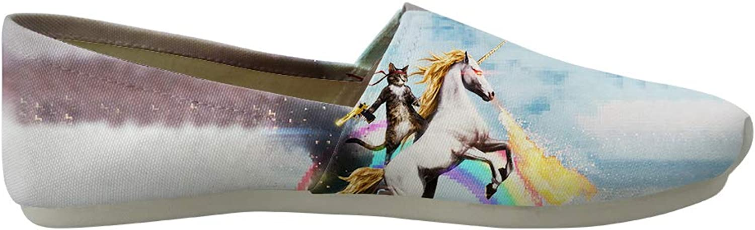Owaheson Classic Canvas Slip-On Lightweight Driving shoes Soft Penny Loafers Men Women Fantasy Cat Unicorn Rider Fighting