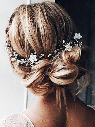 Edary Braut Hochzeit Haar Reben Blume Braut Stirnband Braut Strass Haarteil Perle Hochzeit Haarschmuck für Frauen und Mädchen