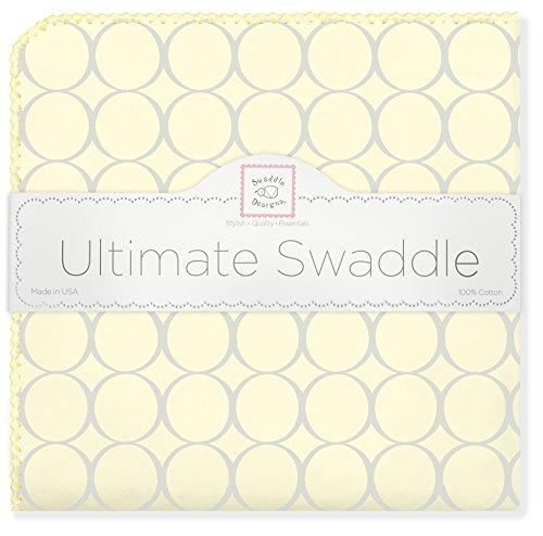 SwaddleDesigns Ultimate Couverture Emmailotage, Flanelle de Coton de première qualité, Mod Circles Gris Argentés sur Jaune Clair