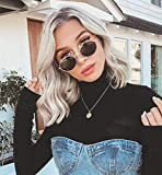 LEMEIZ Ombre Platinum Blonde Wigs with Brown Roots Loose Curly Synthetic Hair Silver Wigs for Women Brown Rooted Mixed Blonde Hair Wigs 16 inch LEMEIZ-110