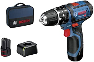BOSCH 06019B690H - Taladro percutor a batería GSB 12V-15 Professional 12 V 2 Velocidades. 0-380/1.300 rpm. 30/14 Nm. Portabrocas de 10 mm. 1 kg (con batería incluida). Luz integrada.