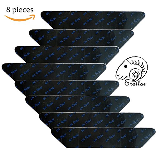 Eroilor Teppichunterlage, Teppichgreifer Antirutschmatte Wiederverwendbar Teppich Aufkleber, Starke Klebrigkeit und Leicht zu Entfernen - Idealer Rutschschutz für Teppich, 8 Stück - Schwarz
