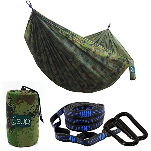 "Esup Camping Hammock -Multifunctional Lightweight Nylon Portable Hammock, Best Parachute Hammock for Backpacking, Camping, Travel (Camo, 118""(L) x 78""(W))"
