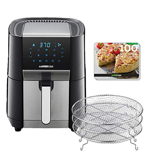 GoWISE USA 7-Quart Air Fryer & Dehydrator - with Ergonomic Touchscreen Display with Stackable Dehydrating Racks with Preheat & Broil Functions + 100 Recipes (Black/Stainless Steel)