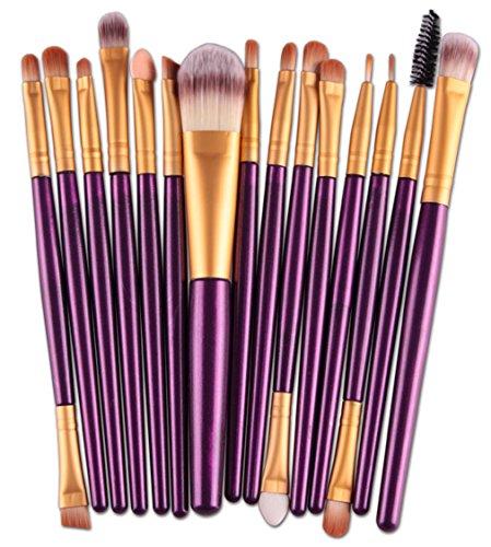 Bigood Kit de Pinceau Maquillage Professionnel 15Pcs Pinceaux Cosmétique Make-up