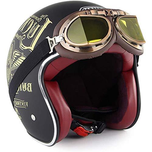 ZYW Jugend Cabrio Motorrad Halb Helm Retro Topless Helm Sturzhelm-Motorrad-Fahrrad-Roller-Straße Fahren Reise Halb Helm Mit Visier,Style 5,M