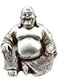 Bellaa 25761 Laughing Buddha Statue Lucky Happy Sitting 6 inch