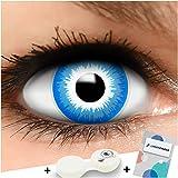 FUNZERA Farbige Kontaktlinsen Elf, in blau und weiß inklusive Kontaktlinsenbehälter, 1 Paar Linsen (2 Stück)