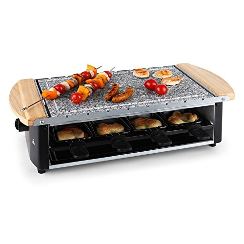 KLARSTEIN Chateaubriand Raclette Grill - Table Grill, Party Grill, 1200 W, Natural Stone Plate, Low Fat Grilling, Removable Grill Surface, 8 Pans & Skewers, Non-stick Coating, Black-Silver
