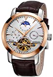 TSS Men's Automatic Tourbillon Moonphase Watch T8030N9 - Stainless Steel Round Watch Synthetic Sapphire Pure & Clear Window - Precise Movement Analog Display - Water Resistant Up to 50m