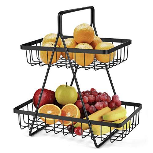 Frutero de 2 niveles, cesta de frutas, cesta de frutas, cesta de pan, cesta de verduras, soporte para almacenamiento de cocina, color negro