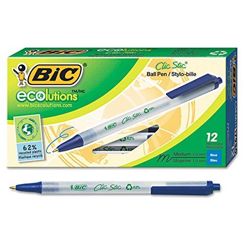 BIC CSEM11BE Ecolutions Clic Stic Retractable Ballpoint Pen, Blue Ink, 1mm, Medium, Dozen