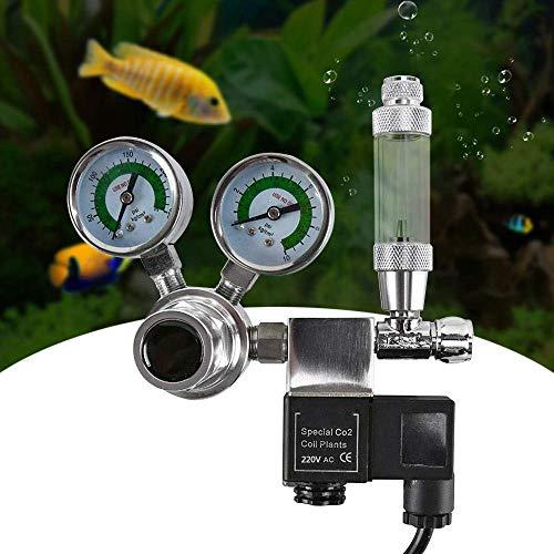 HUKOER CO2-Regler für Aquarien Hohe Stabilität Druckreduzierventil W21,8-Schnittstelle Einschließlich Blasenzähler, Rückschlagventil und Magnetventil für Wasserpflanzen
