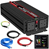 Power Inverter Pure Sine Wave-2000 Watt Peak Power 4000 Watt 24V DC to 230V/240V AC Converter-2AC Outlets Car Inverter with One USB Port-5 Meter Remote Control And Two Cooling Fans