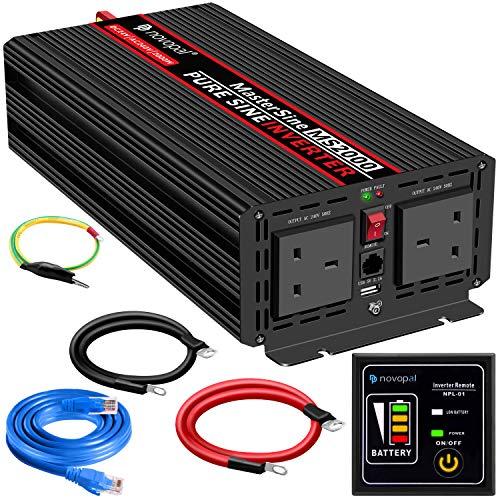 Inversor de energía de onda sinusoidal pura, 2000 W, 24 V CC a 230 V/240 V, convertidor de 2 salidas AC con un puerto USB, control remoto de 5 metros y dos ventiladores de refrigeración