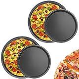 MHwan Bandejas Pizza Juego, Bandeja Horno Pizza, Juego Universal de Bandejas para Hornear Pizza Antiadherente para Platos de Pizza de Acero al Carbono, 26.8 x 2.5cm y 21.5 x2.5cm, 4 Piezas