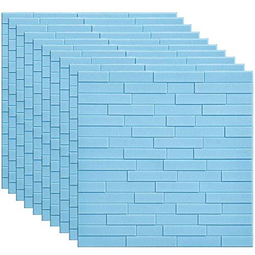 GL-GDD Paquete de 10 Paneles de Pared 3D para pelar y Pegar Azulejos contra Salpicaduras Autoadhesivo Papel Tapiz de Espuma PE Fondo Impermeable Decoración de Pared se Puede empalmar Bricolaje,2