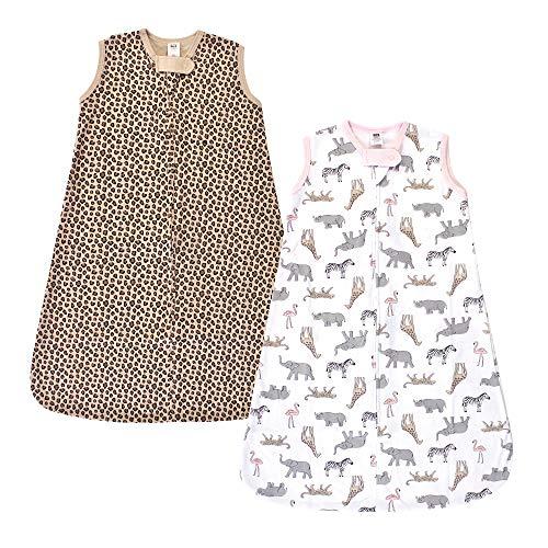 Hudson Baby Unisex Baby Cotton Sleeveless Wearable Sleeping Bag, Sack, Blanket, Modern Pink Safari, 6-12 Months
