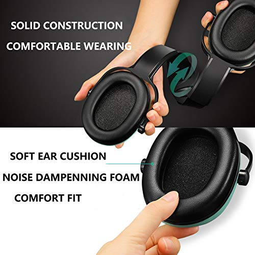 Kids Ear Protection Noise Cancelling Headphones for Children and Adults, Adjustable Headband Ear Dfenders for Sleeping Studying Shooting Range Hunting Sports, Green