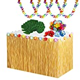 65 Pcs Hawaiano Luau Falda de Mesa Set de Decoración,Hojas de Palmera Flores Hawaianas Guirnaldas de Luau para Fiesta Temática de Lei Hawaiano de Verano en la Playa