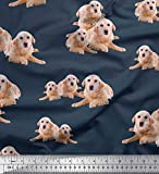 Soimoi Blau Baumwolle Batist Stoff Golden Retriever Hund