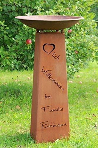 Rostikal   Personalisierte Edelrostsäule Herzlich Willkommen   Pflanzsäule 100 cm hoch mit Rostschale rund 60 cm