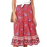 Villavivi Maxi Falda de verano Vintage Floral Estampada para Mujer Chica rojo S