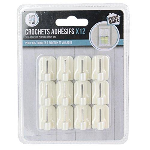 Je Cherche One Idee 12 Stück Haken selbstklebend für Gardinenstange, Kunststoff, weiß, 1,7 x 1,2 x 2,3 cm