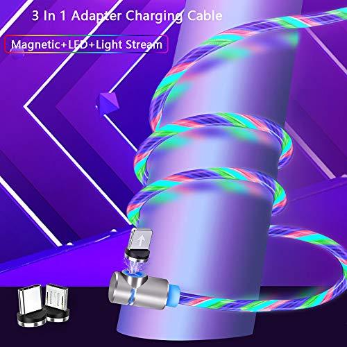 Kyerivs USB Kabel Zubehör - Micro USBType C Lighting Adapters, Magnetisches USB Ladekabel - No Sync Data (2m/6.6ft, 10-Ellbogen-Mehrfarbig)