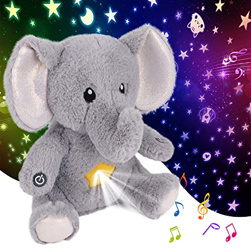 Cuteoy Elephant Star Projector Plush Night Light Stuffed Animals Musical Soother Toys for Kids Lullabies Sounds Sleep Aid Gifts on Birthday Christmas (Elephant)