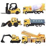 deAO Camion di Costruzione Set di 6 Veicoli Giocattolo Scala 1:64 Movimenti Realistici Die-Cast e Plastica Camion Elevatore, Miscelatore, Caricatore, Ribaltabile, Bulldozer, Gru