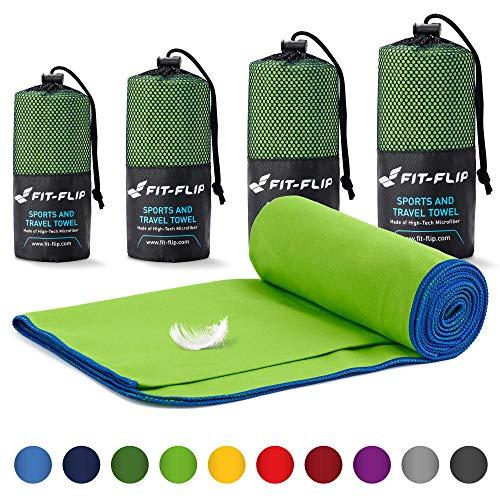 Fit-Flip Mikrofaser Handtuch Set – in Allen Größen / 18 Farben – Ultra leicht & kompakt – das perfekte Sporthandtuch, Strandhandtuch und Reisehandtuch (100x200cm, Grün mit Dunkelblauen Rand)