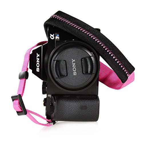 Foto&Tech Padded Neck Shoulder Strap with Hot Pink Grosgrain Ties for Fujifilm Samsung Sony Olympus Panasonic Canon Nikon Pentax Compact Cameras Point and Shoots Cameras [並行輸入品]