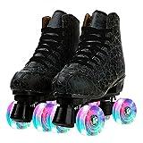 ローラースケート インラインスケート クワッドスケート クワッドローラー ローラーシューズ 2列スケート 光る輪 初心者向け 子供用 大人用 ジュニア (黒 フラッシュホイール,27.0cm)