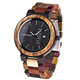 Men Watch Wooden Colorful Bamboo Watches Week & Date Display Quartz Couples Watches Handmade Casual Multifunction Wood Wrist Watch for Men
