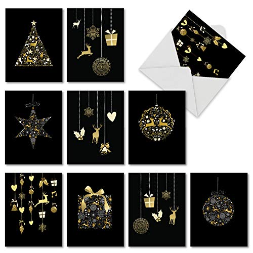 M6723XSB Gilded Holiday: 10 Assorted Blank Christmas Note Cards Featuring Elegant Ornaments on Black Background (Not Foil), w/White Envelopes.